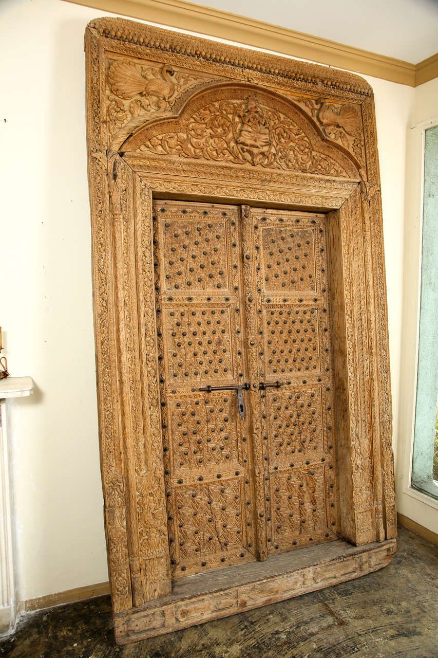 Ornately carved wood door with surround from india pinterest