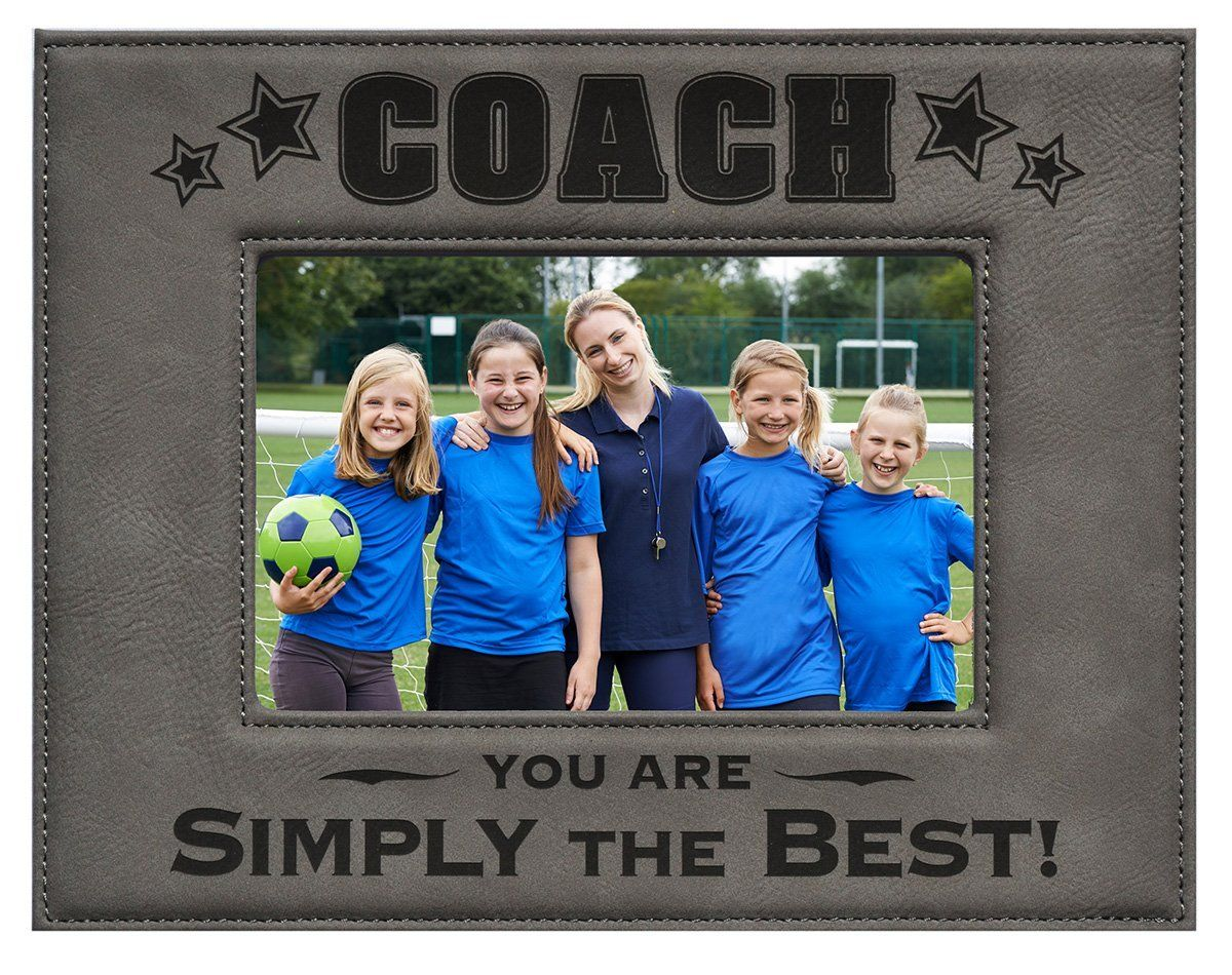 Coach Picture Frame Gray 5 X 7 Engraved Leatherette Picture