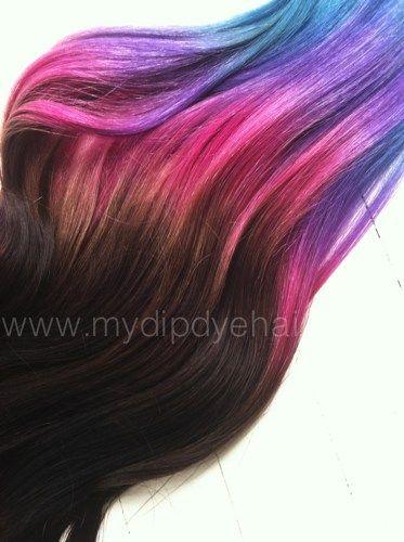 Purple Ombre Hair Ombre Tie Dye Pink Purple Steel Blue Dark Brown Hair Extensions Purple Brown Hair Extensions Dip Dye Hair Brown Purple Hair Tips