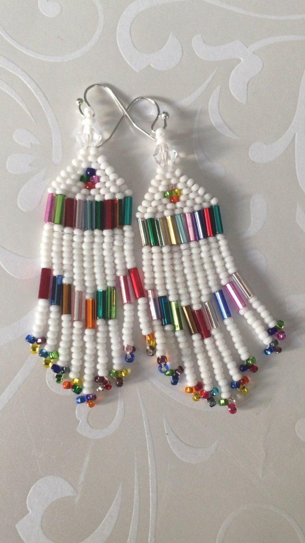 49897a47b Small Beaded Fringe Seed Bead Earrings White Sparkles Beaded Dangle ...