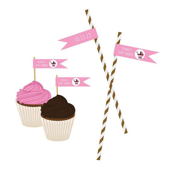 Pink Baby Shower Straw Flags or Cupcake Toppers