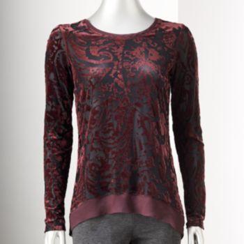 Blusen, Tops & Shirts Kleidung & Accessoires New SIMPLY VERA WANG Velvet Tie-Dye Henley Tunic Top Blouse Shirt Chiffon Hem