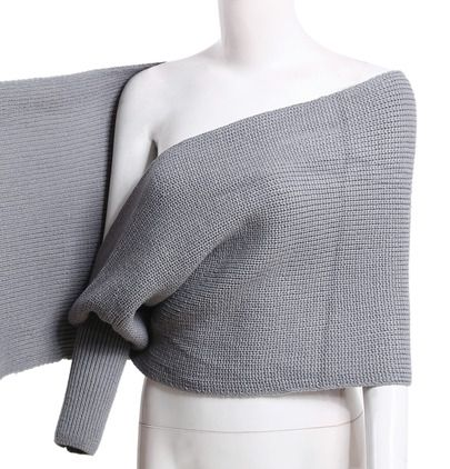 Grey Off The Shoulder Crop Knit Sweater Crafts Crochet And Diy