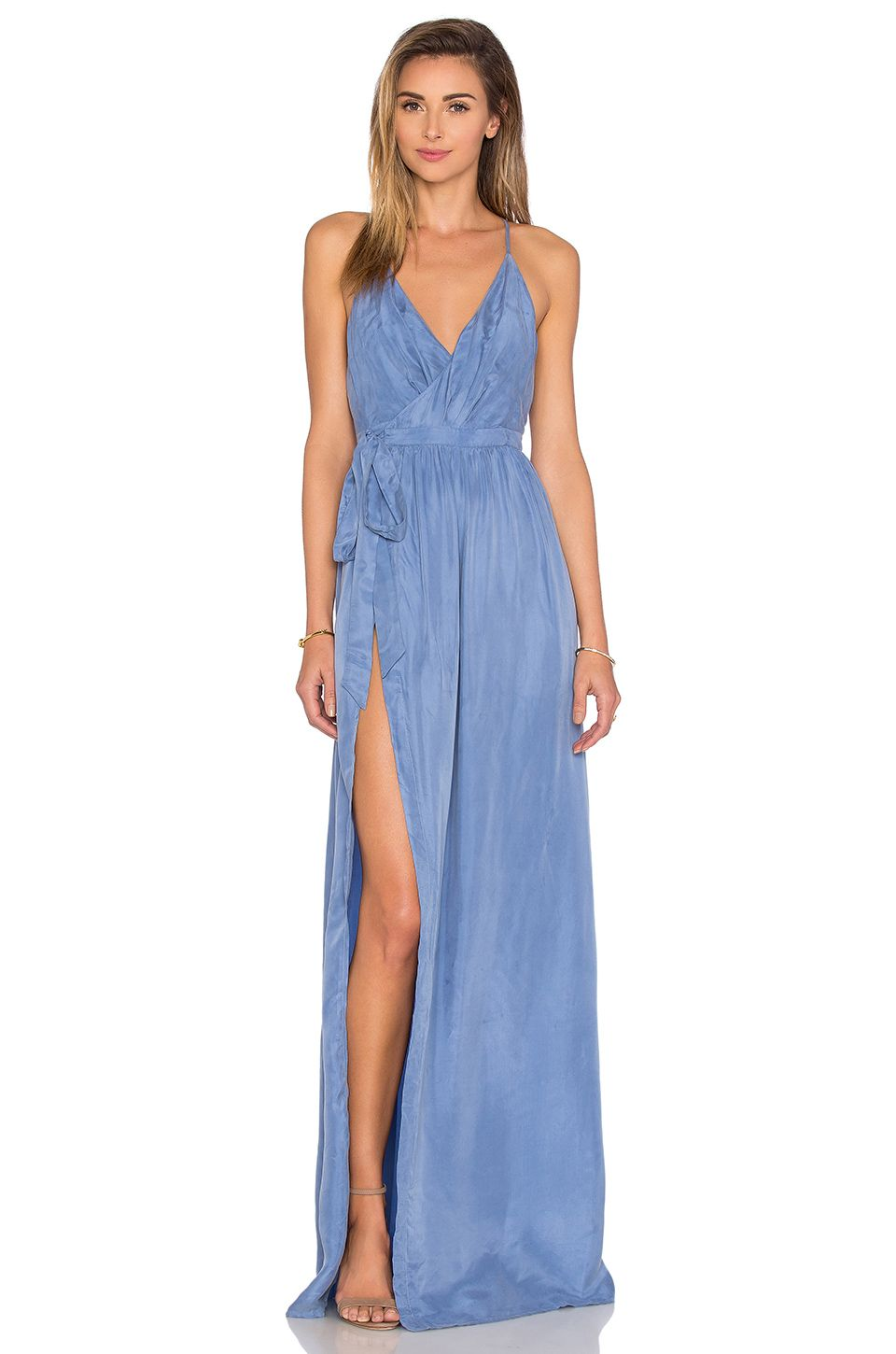 THE JETSET DIARIES Sunset Wrap Dress in Smokey Blue | Dresses ...