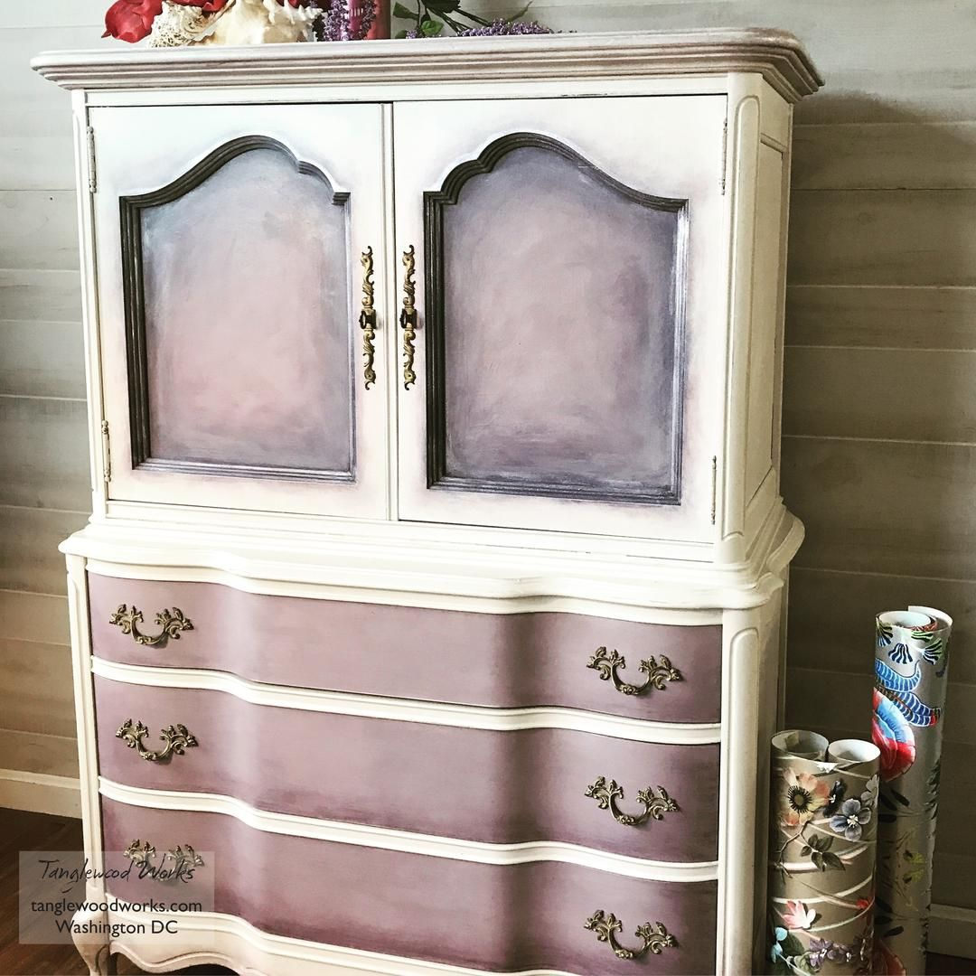 French Provincial Lavender And White Dresser From Tanglewood Works Of Hyattsville Md Attic White Dresser Purple Decor French Provincial