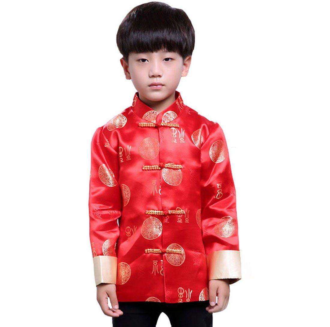 109264ea4a78 ACVIP Boy Kid Chinese Fall Winter Tai Chi Kung Fu Tang Suit Festival Coat  Jacket (