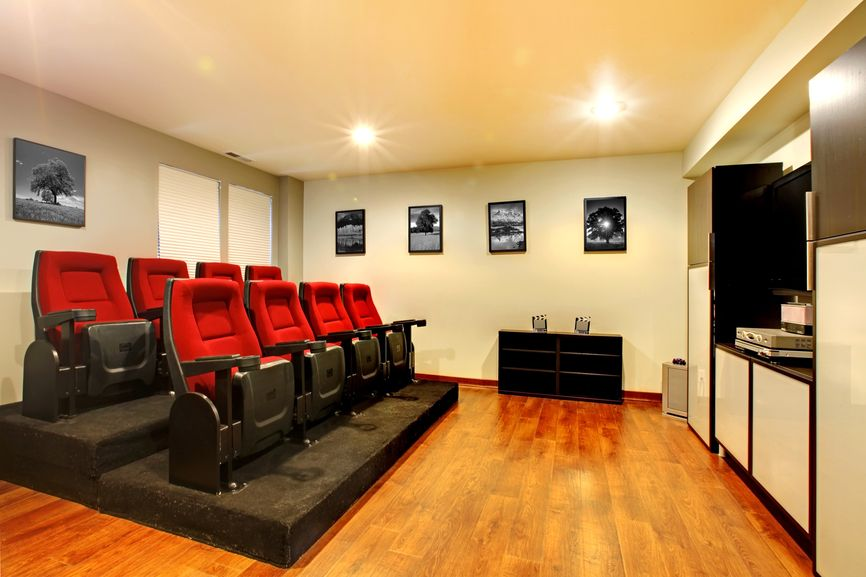 Wonderful Small Home Theater With Stadium Seating For 8 People