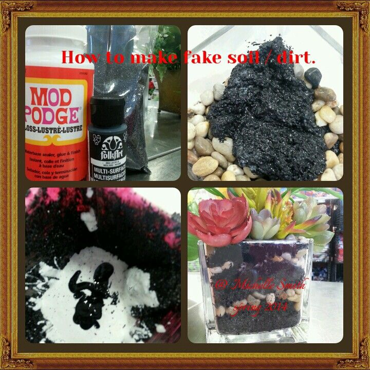 how to make fake dirt soil 1 you will need black sand black acrylic paint mod podge. Black Bedroom Furniture Sets. Home Design Ideas