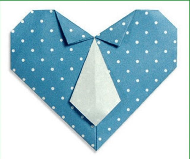 Tarjeta De Corazon De Origami Del Dia Del Padre I24web Origami Para El Dia Del Padre Tarjeta Corazones Origami Corazon