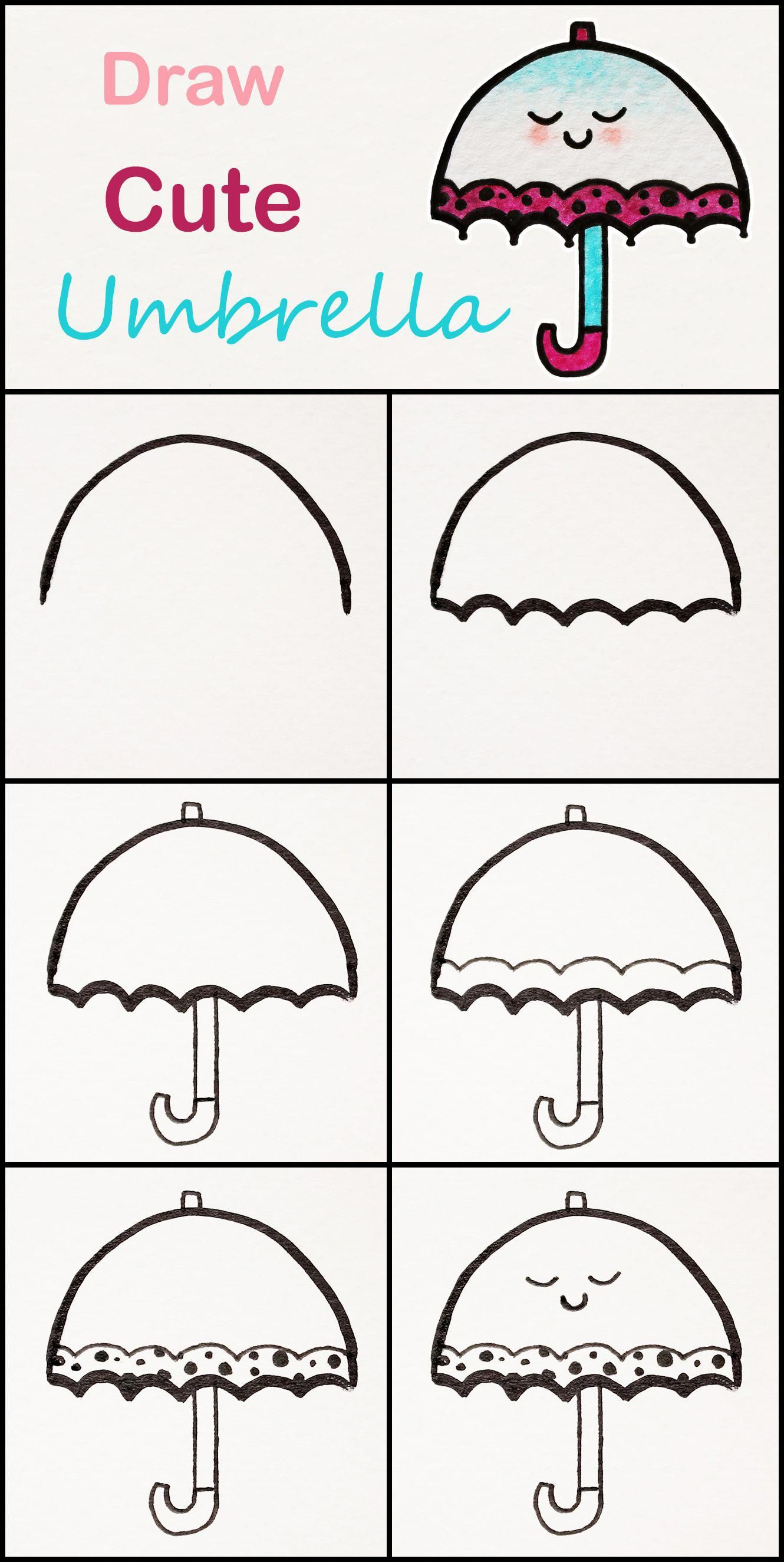 Step By Step Easy And Simple Art Video Lessons For Kids74918018117892 Cute Umbrellas Cute Easy Drawings Easy Drawings