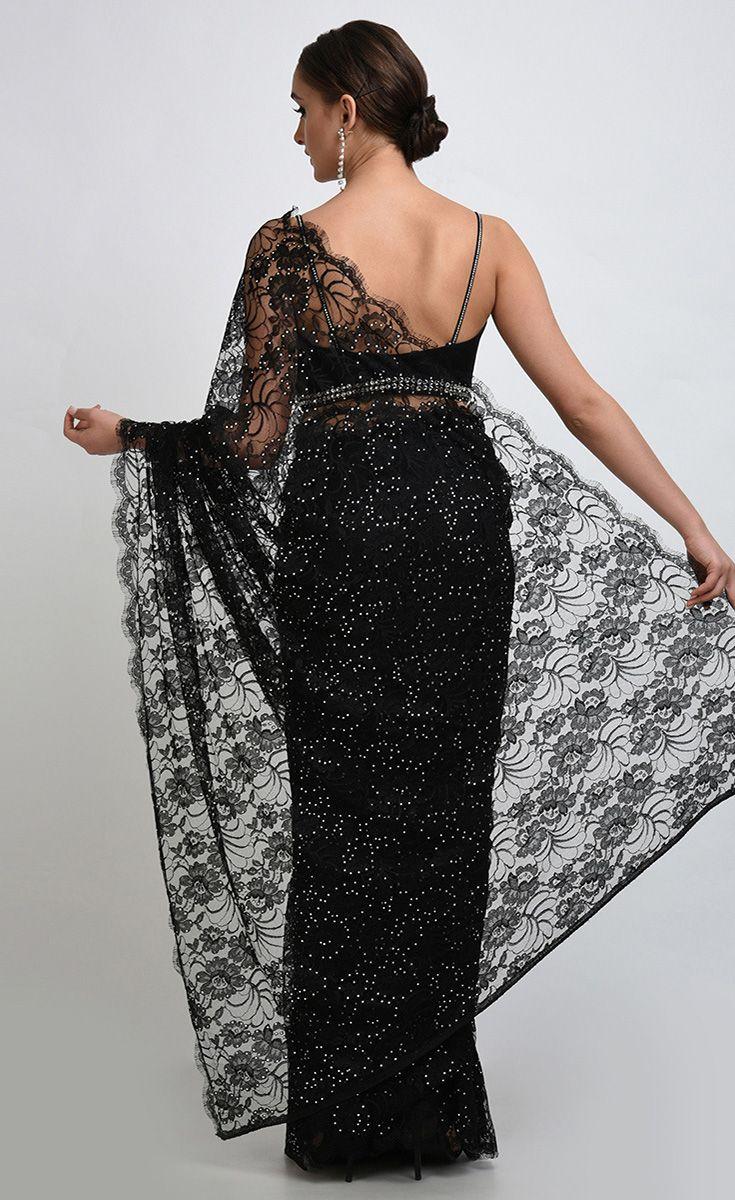 Black french chantilly lace swarovski crystal saree and blouse the black french chantilly lace swarovski crystal saree and blouse aloadofball Gallery