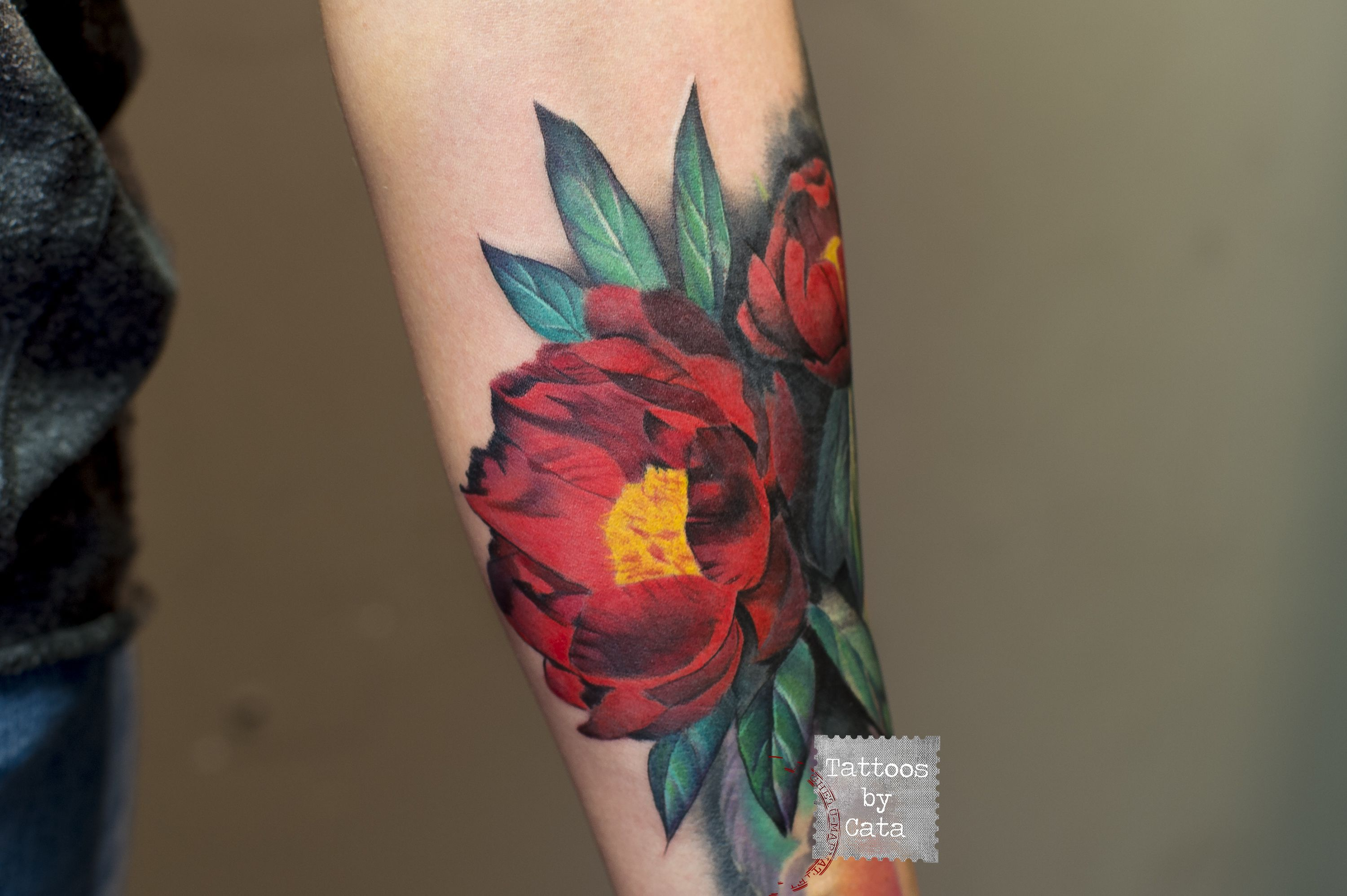 Red peony tattoo tattoo appointments available at tattoosbycata