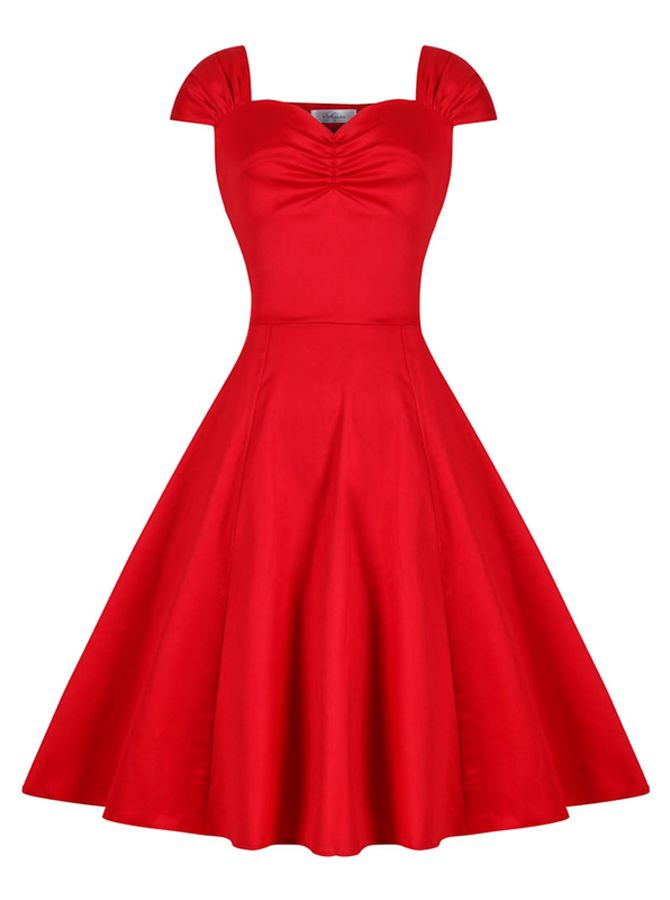 Red Bateau 50s Style Rose Long Sleeves Solid Vintage Dress