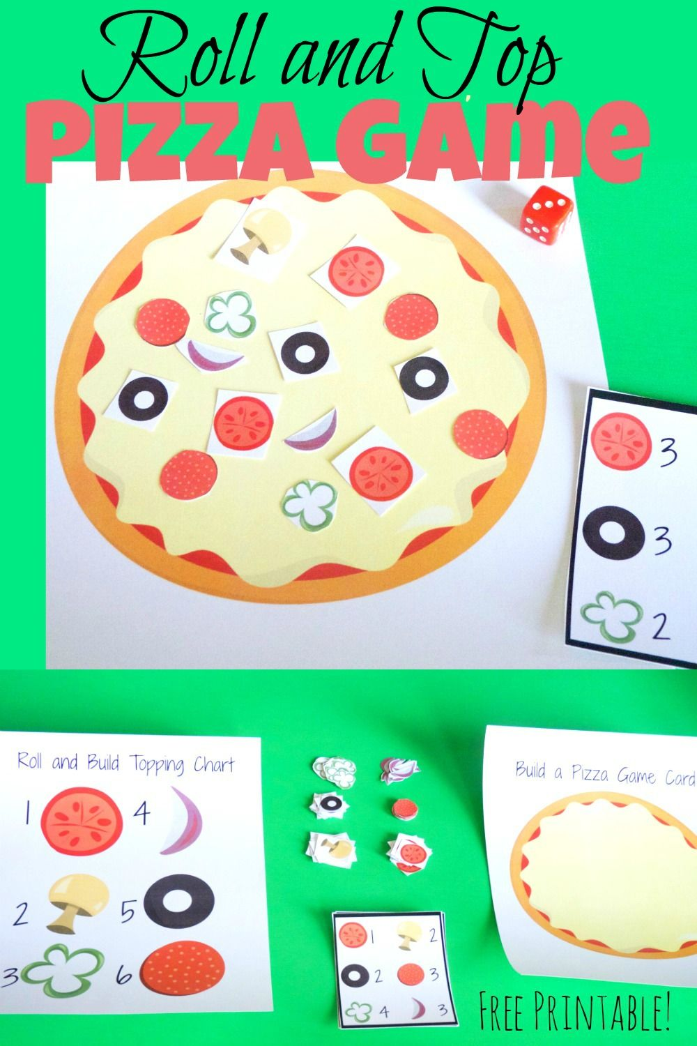 Roll And Top Pizza Game Pizza Games Pizza Party Games Pizza Craft