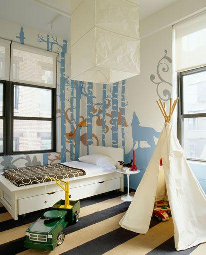 boy's rooms - Saarinen End Table tan black stripe rug teepee playhouse white modern twin bed square rice paper lantern pendant brown circles duvet bedding blue woods mural