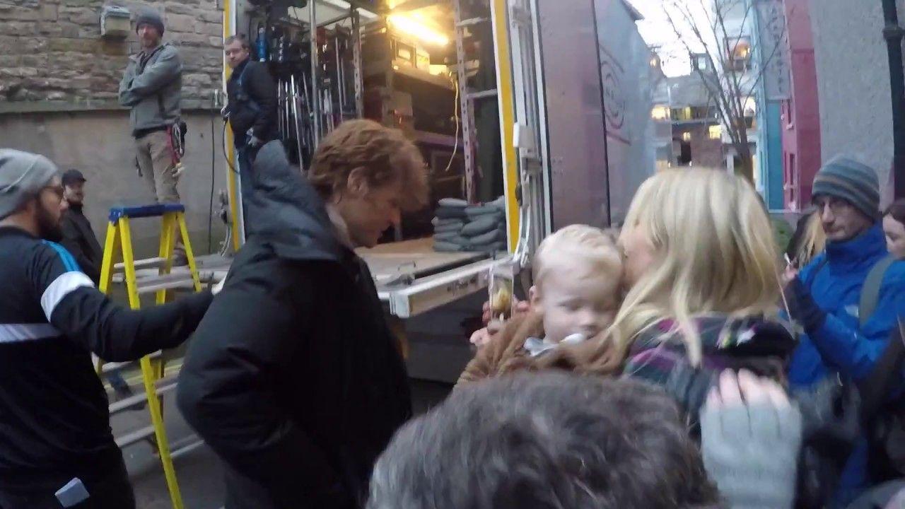 Outlander stars during Season 3 filming in Edinburgh