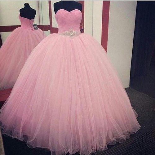 Pink Tulle Quinceanera Formal Prom Party Ball Gown Wedding