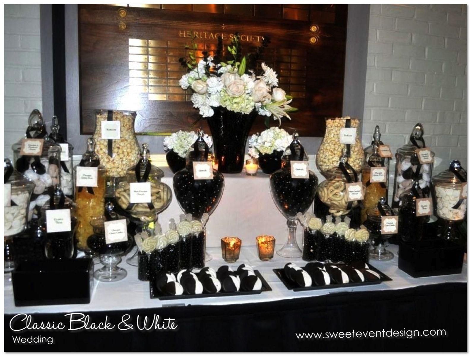 Pinterest Black And White Wedding Black White Champagne Wedding Candy Candy Station Wedding Black And White Wedding Theme Wedding Reception Table Decorations