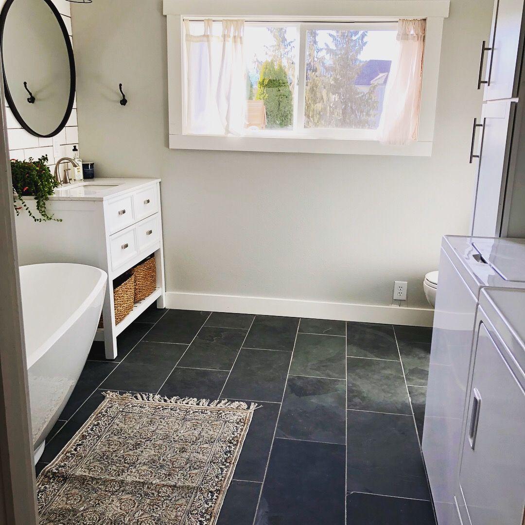 Bathroom laundry combo, slate tile floor | Bathroom remodel ...
