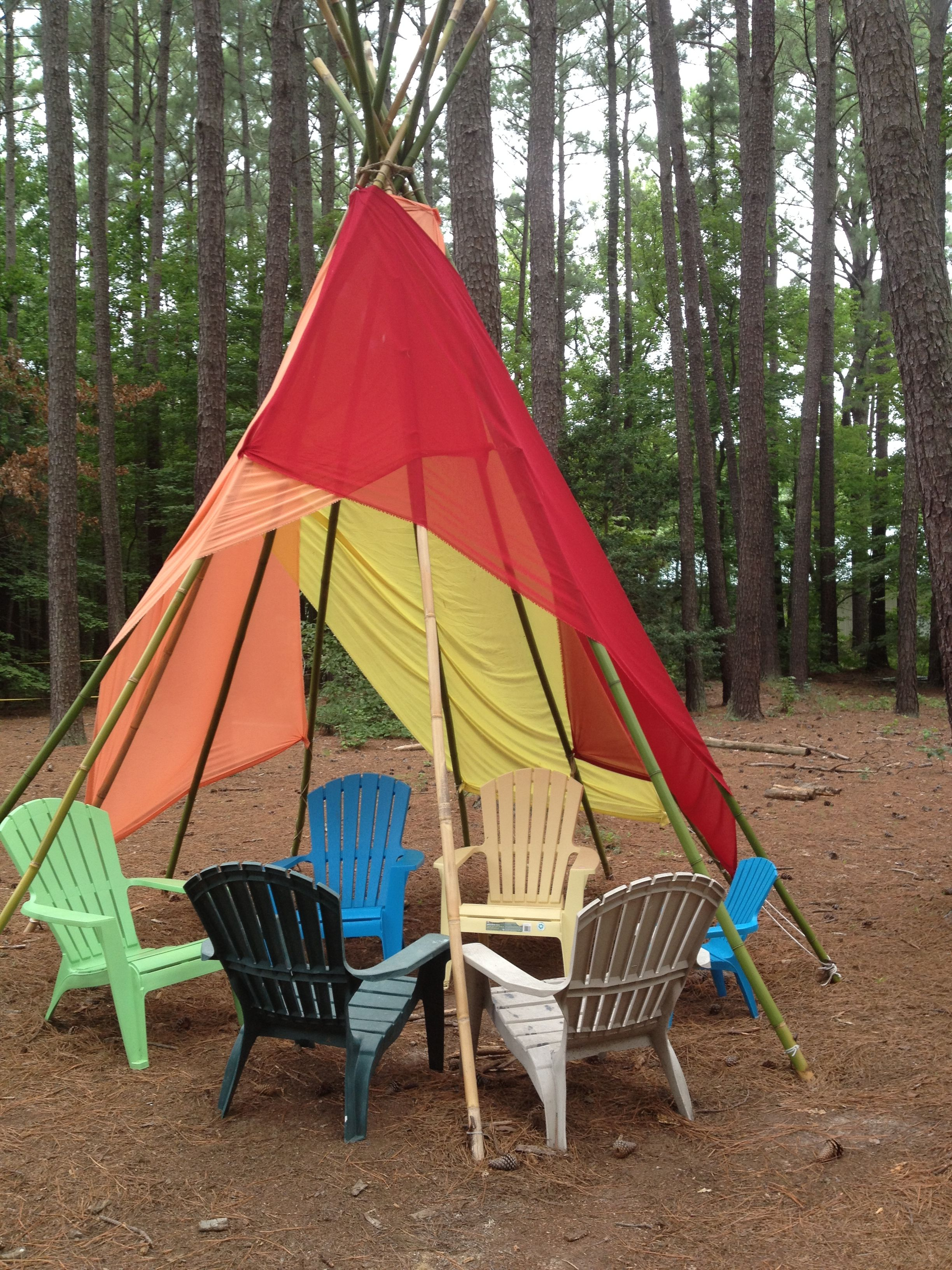 Bamboo tepees provide a fun place to relax/play. www.annmariegarden.org