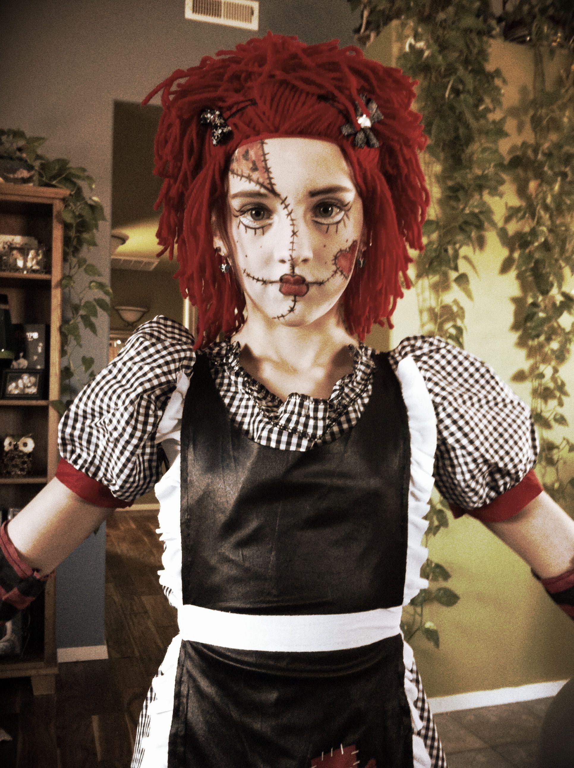 Rag Doll Make Up Raggedy Ann Halloween Costume Scary Halloween Costumes Raggedy Ann Costume