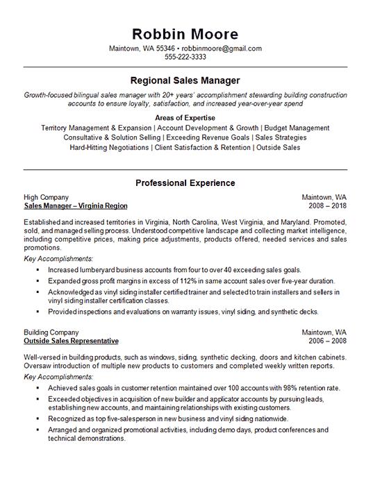 Outside Regional Sales Sales Resume Examples Resume Examples Sales Resume