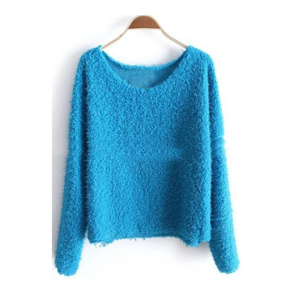 Blue Long Sleeve Plush Loose Pullovers Sweater ($20) ❤ liked on Polyvore