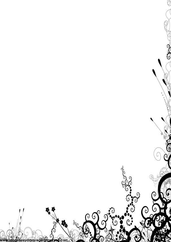 Hojas decoradas en blanco y negro para imprimir-Imagenes para ...