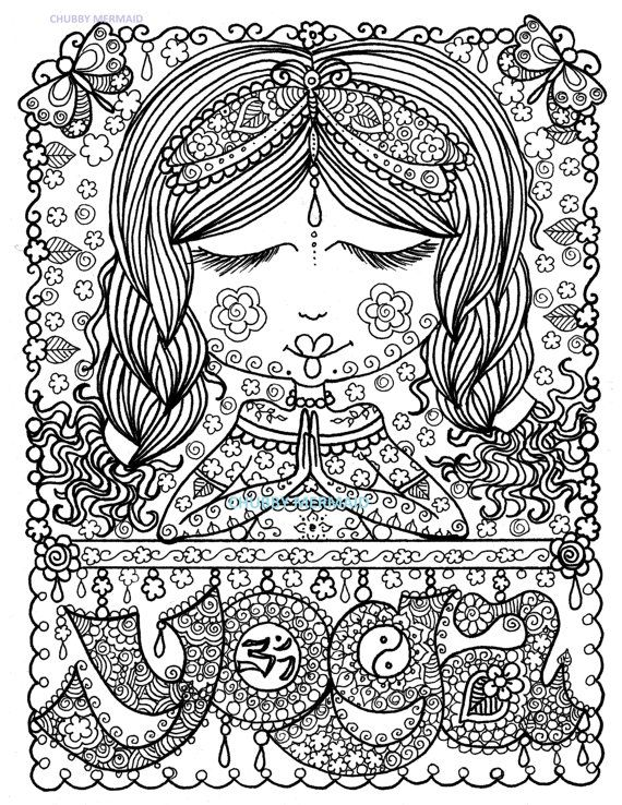 YOGA Girl Coloring Page Instant Download Digital Coloring for Adults ...