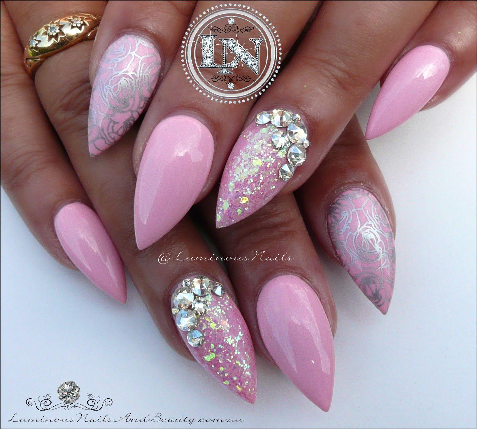 luminous nails: plush pink & silver nails acrylic & gel nails