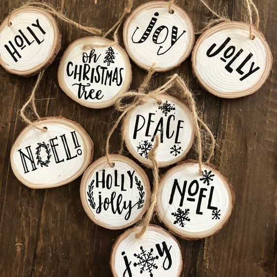 Custom Hand-written Wood Slice Ornament Custom Christmas Ornament- Family Name  Ornament- First/Last Name Ornament- Christmas Tree Ornament