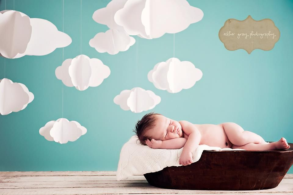 homemade clouds for a backdrop!
