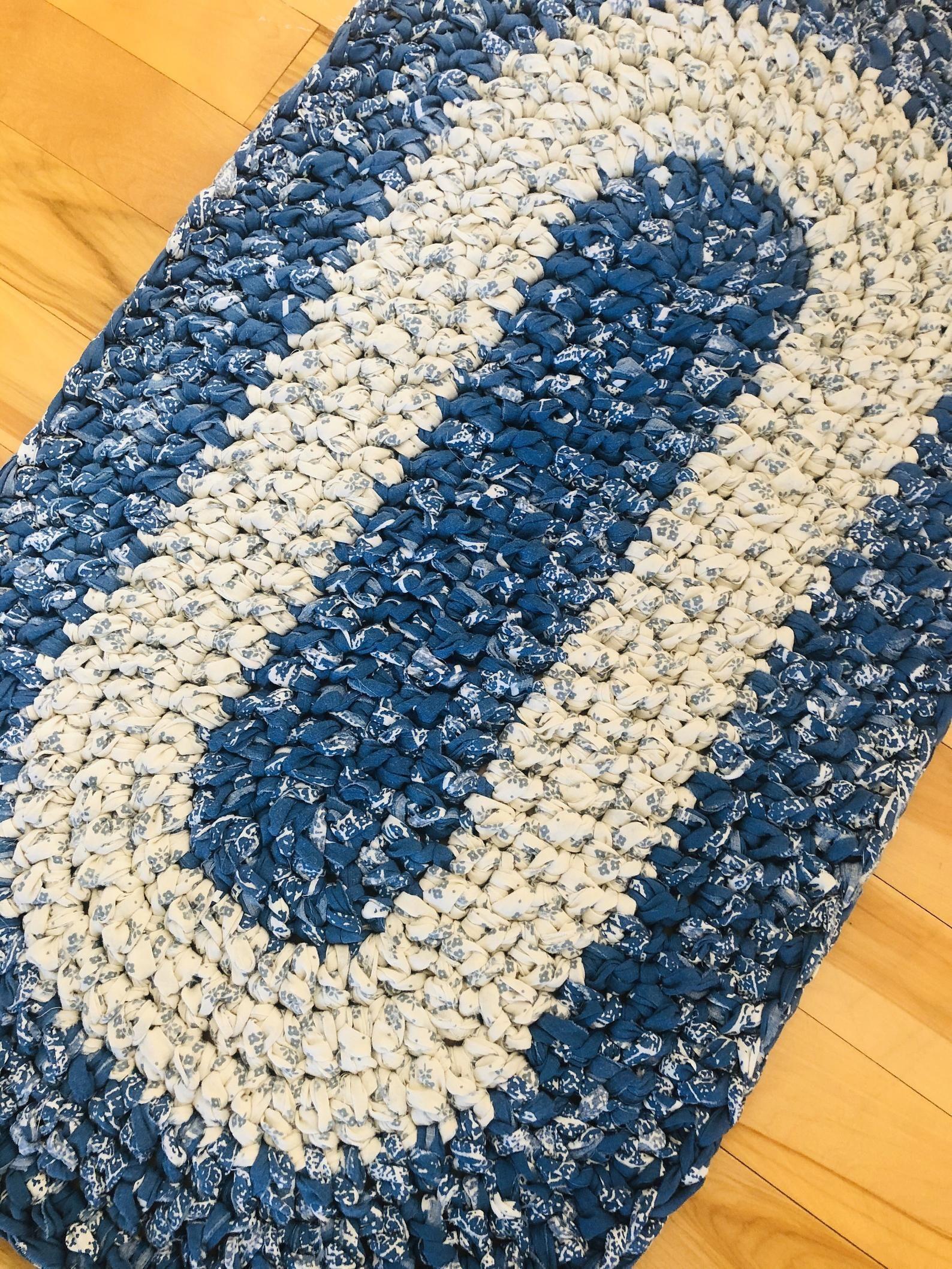 Rag Rug Oval Rug Crochet Rug Blue And White Rug Cabin Rug Farmhouse Rug Cottage Rug Bathroom Rug Nursery R In 2020 Cottage Rugs Blue And White Rug Cabin Rugs