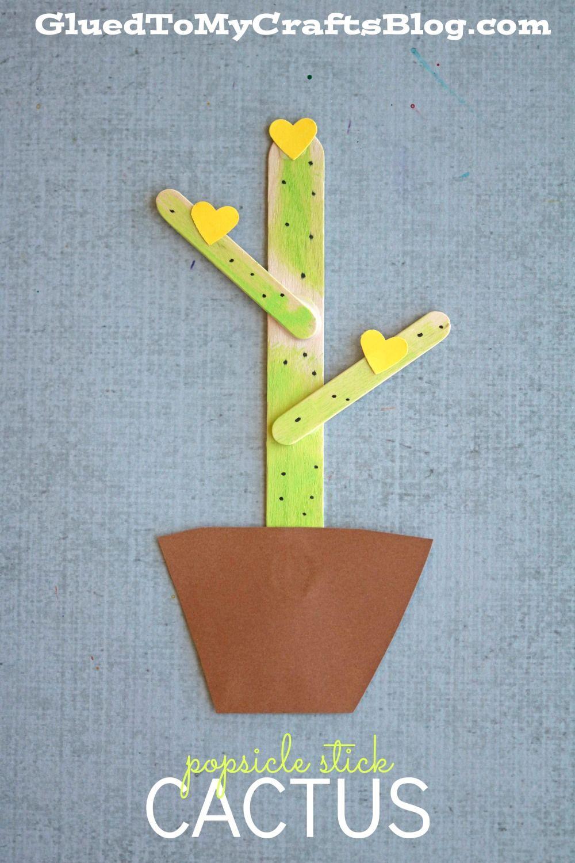 Popsicle Stick Cactus Kid Craft Craft Stick Crafts Wild West