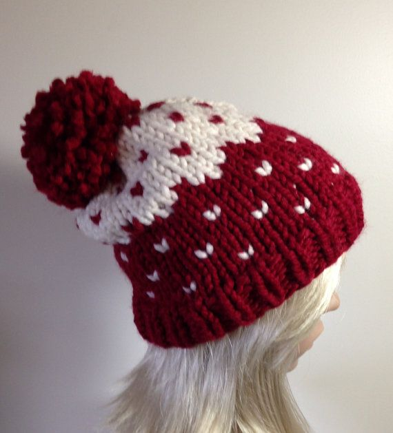 Knit Hat Women's Slouchy Chunky Pom Pom Hat Fair Isle by ellinell ...
