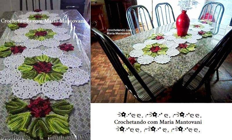 Crochetando com Maria Mantovani: Caminho de mesa florido