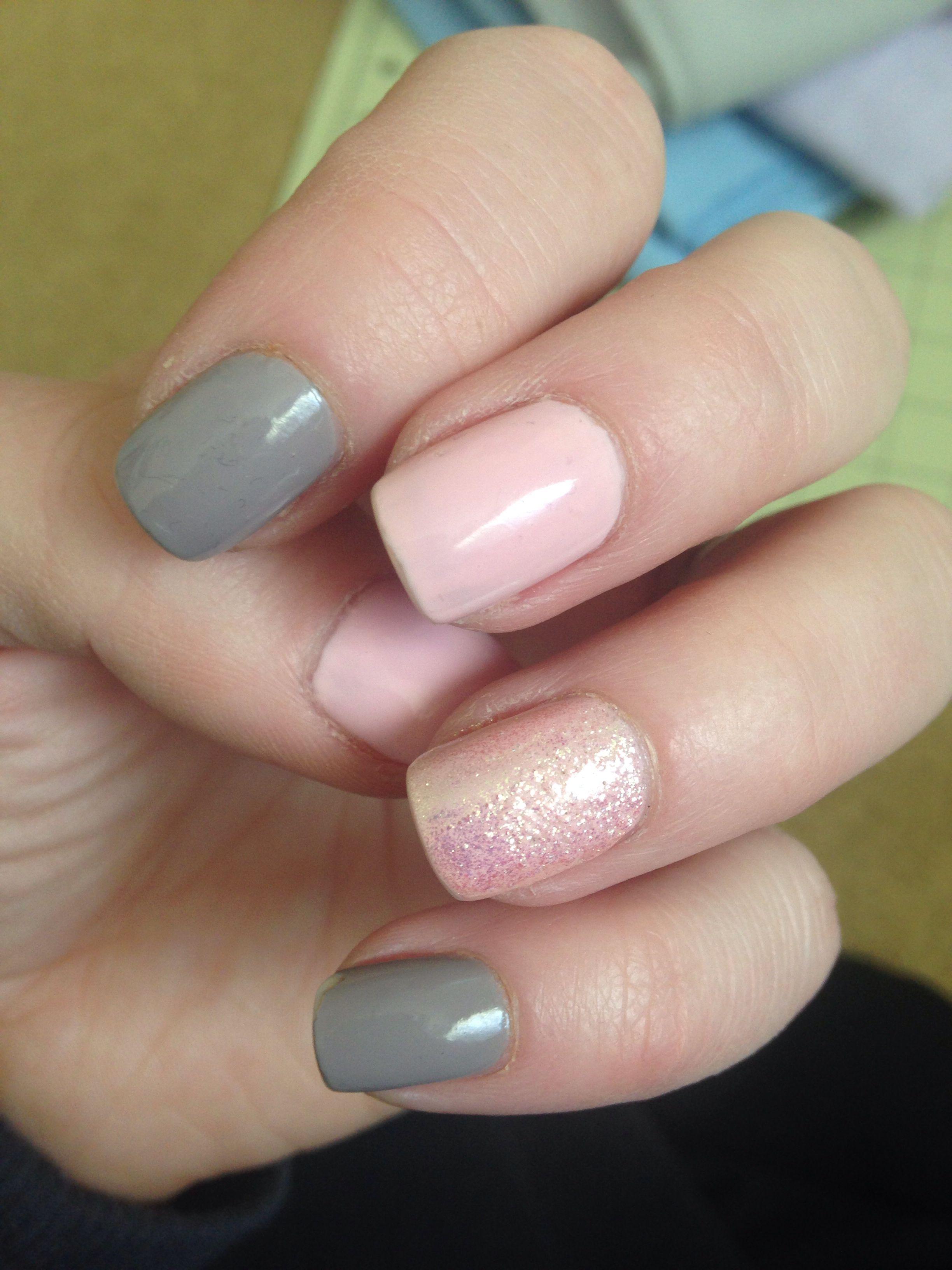 Pink And Grey Nails Pink Grey Nails Gray Nails Nails