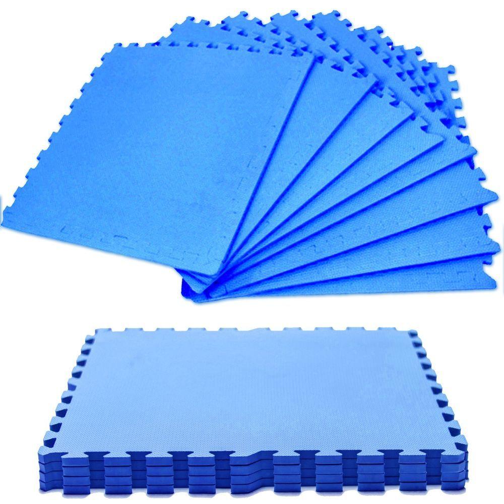 Large BLUE EVA Foam Mats Interlocking Floor Tiles Fitness