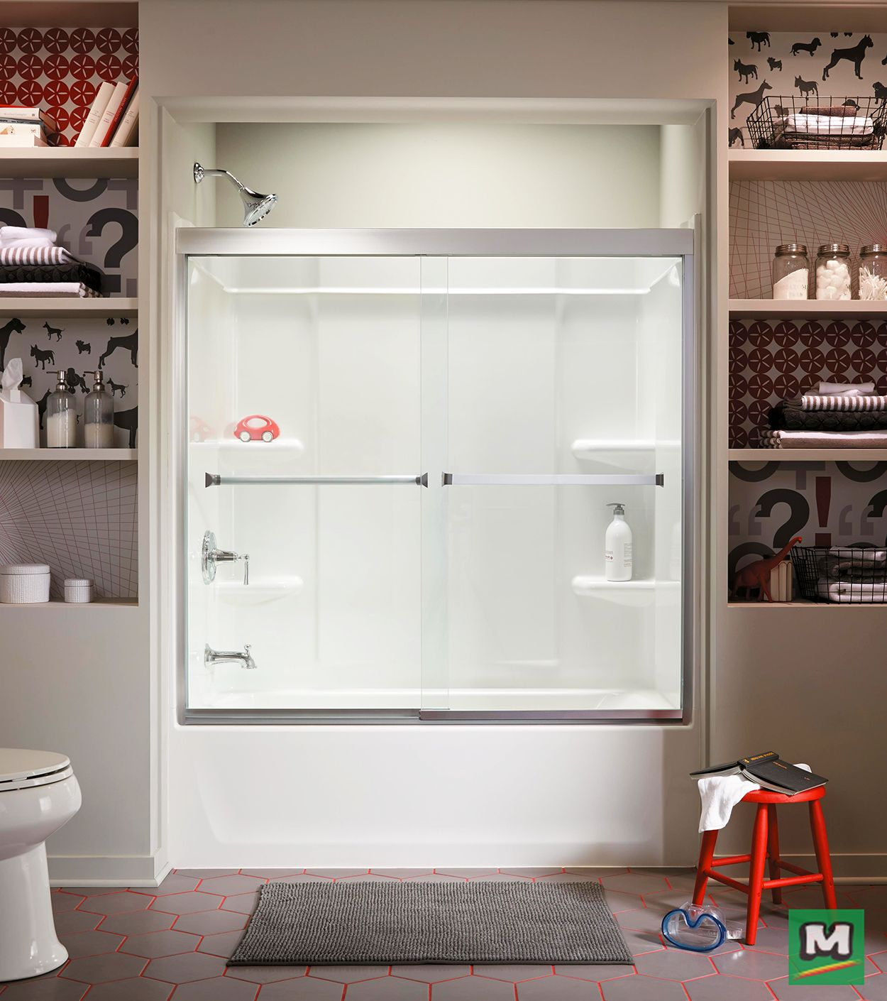 Give Your Shower An Upgrade With This Sterling Meritor Frameless Sliding Bath Door In Silver With Clear Glass Mad Tub Shower Doors Shower Tub Bath Or Shower