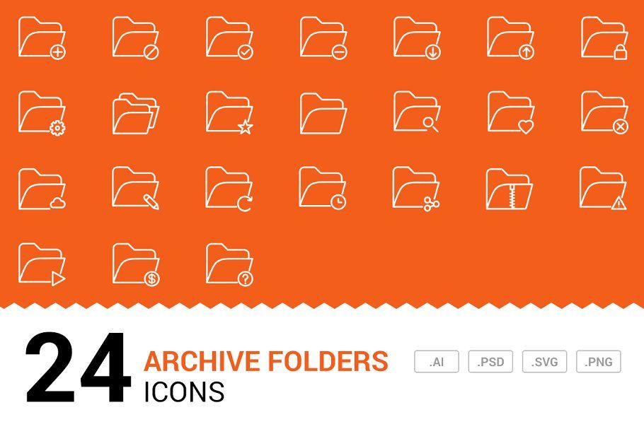 Archive Folders Vector Line Icons in 2020 Line icon