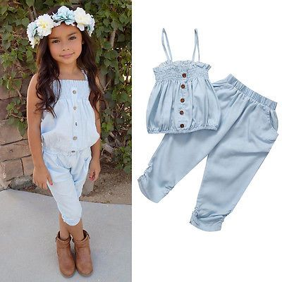 f09b5319565a Kid Girls Child Jeans Top T-shirt Pants Outfit Set Clothes Strap Baby Tops  Bottoms Clothing Summer