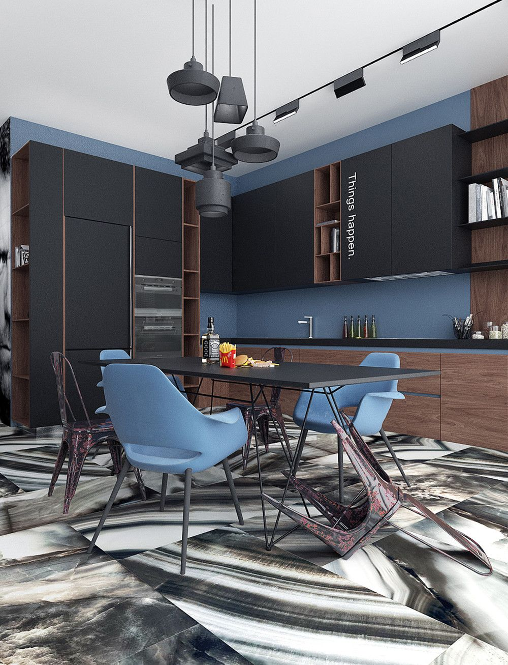 Blue accents and rich marble floors! We love how modern and unique this kitchen is...