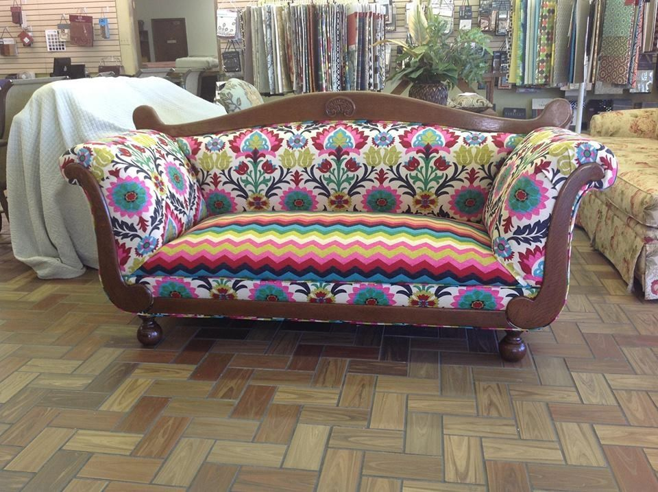 Classic Living Room Style with Large Antique Couch Furniture, and Colorful  Floral Pattern Fabric Upholstery. Couches, Reupholstering A Couch - Reupholstered Antique Couch: I Would Not Use This Pattern, But