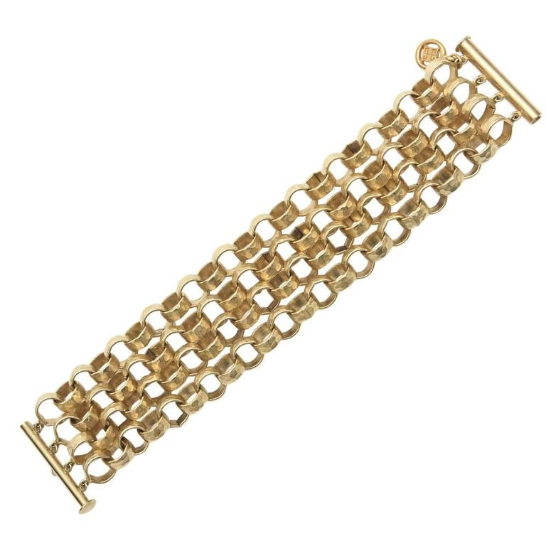 822335d9617 Gold · Givenchy Four Chain Hand Hammered Gold Plated Link Cuff Bracelet ...