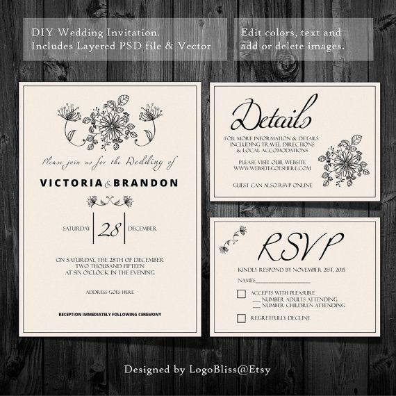 Wedding Invitations Details: DIY Wedding Invitation Set, Wedding Template Set, RSVP