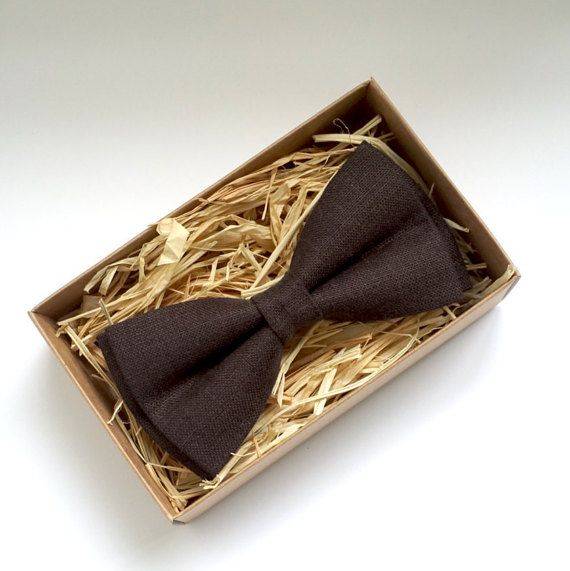 Brown bow tie, Dark Brown mens tie, Linen bow tie, Bow tie for Wedding, Wedding Tie, Brown toddler Bow Tie, Ring Bearer Bow Tie, Boy bow tie