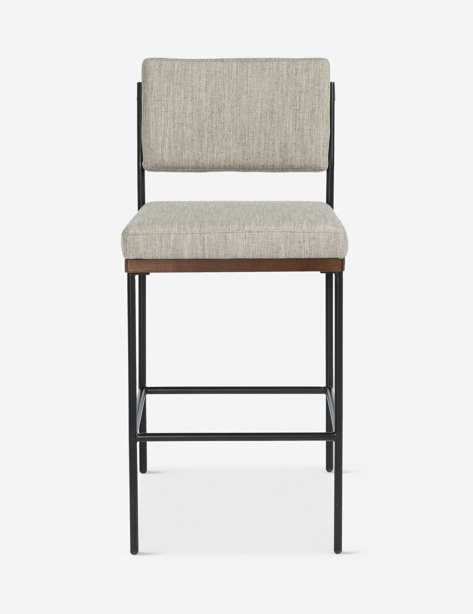 Mixed Materials Give This Bar Height Stool A Distinctly Modern Look The Armless Bar Chair Features Black Iron Legs A Flannel Colored Fabri
