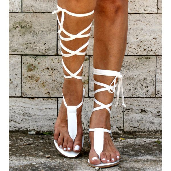 4b1de6f910d Irini 4 Leather Gladiator Sandals Ancient Greek Sandals Lace Up... ($82) ❤  liked on Polyvore featuring shoes, sandals, gladiator & strappy sandals,  white, ...