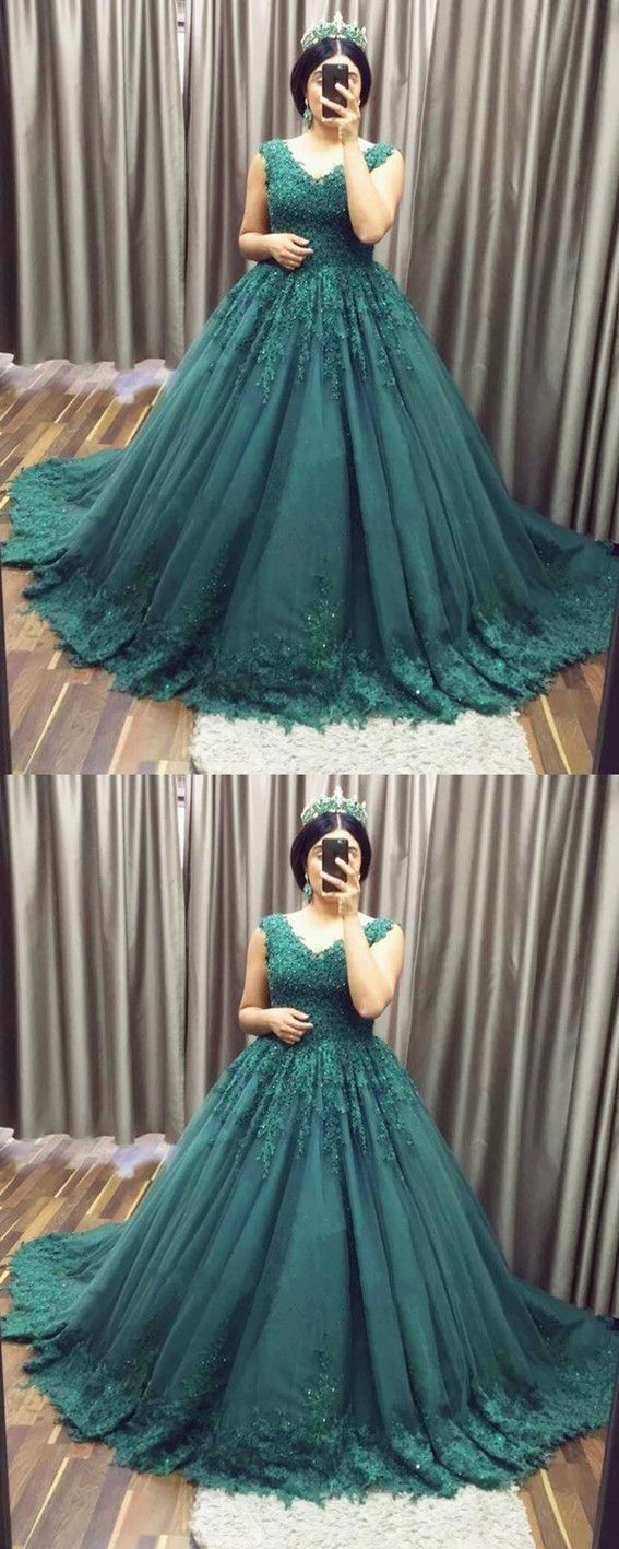 Deep vneck tulle ball gowns prom dresses lace appliques fashion