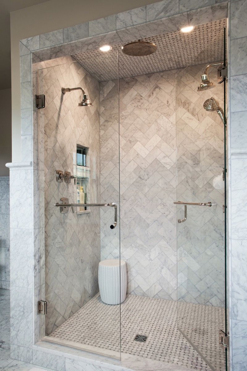 Dual Shower Heads With Rain Shower In The Middle Bathroom